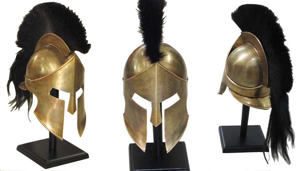 casco espartano de leonidas, el griego de la pelicula de 300